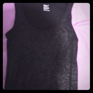 Ladies shimmer gap tank top